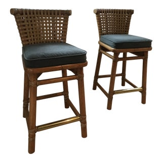 McGuire Gray Counter Stools- a Pair For Sale
