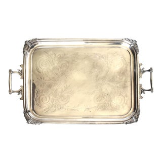 Antique 19th-Century Reed & Barton Silver Plate Butler's Tray For Sale