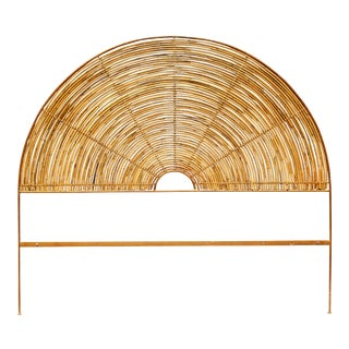 Vintage Bent Bamboo Sunburst Queen Headboard