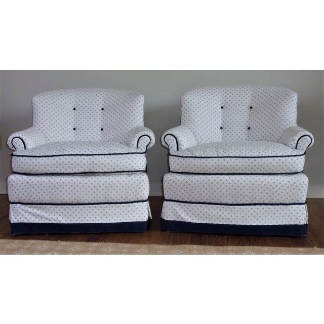 Traditional Custom Swivel Chairs, White & Navy, Pair For Sale - Image 3 of 10