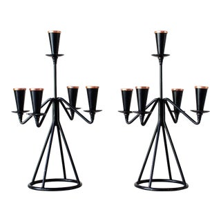 Mid Century Gunnar Ander for Ystad Metall Candelabra - a Pair For Sale