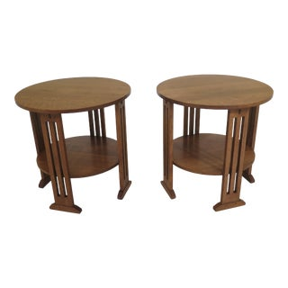Stickley Round Mission Oak Occasional Tables - a Pair For Sale