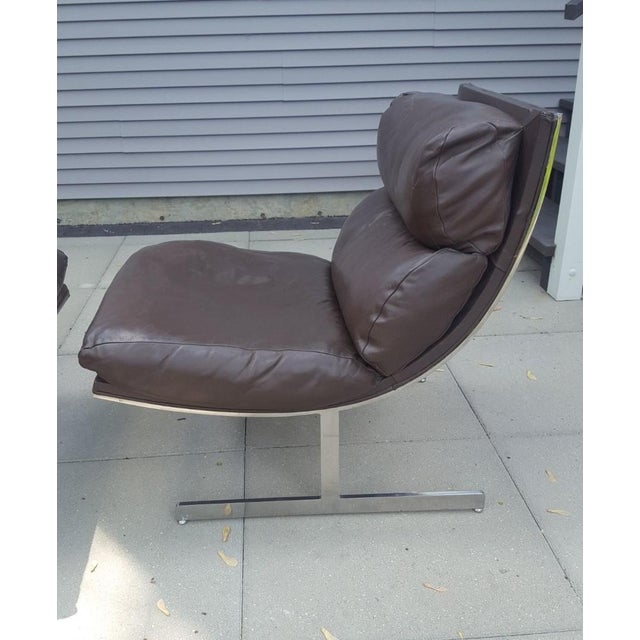 Animal Skin Mid-Century Modern Kipp Stewart for Directional Chrome Lounge Chairs - A Pair For Sale - Image 7 of 11