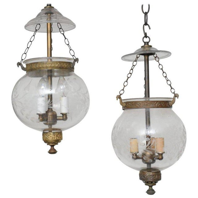 Late 19th Century Pair of Late 19th Century English, Blown Glass Globes With Vine Etching For Sale - Image 5 of 5