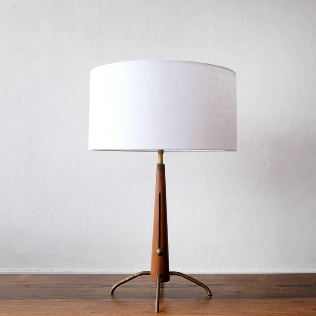 Lightolier Walnut and Brass Gerald Thurston Adjustable Height Lamps For Sale - Image 4 of 10