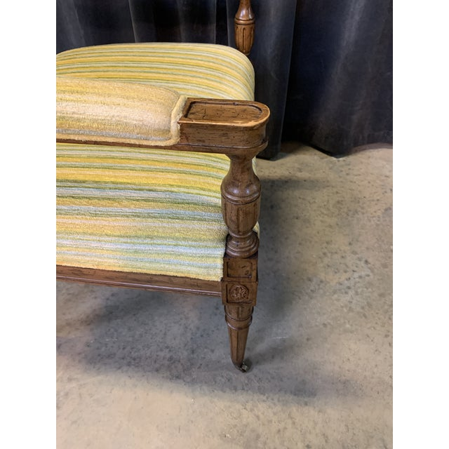 Yellow Mid-Century Walnut and Striped Upholstered Drexel Chair For Sale - Image 8 of 10