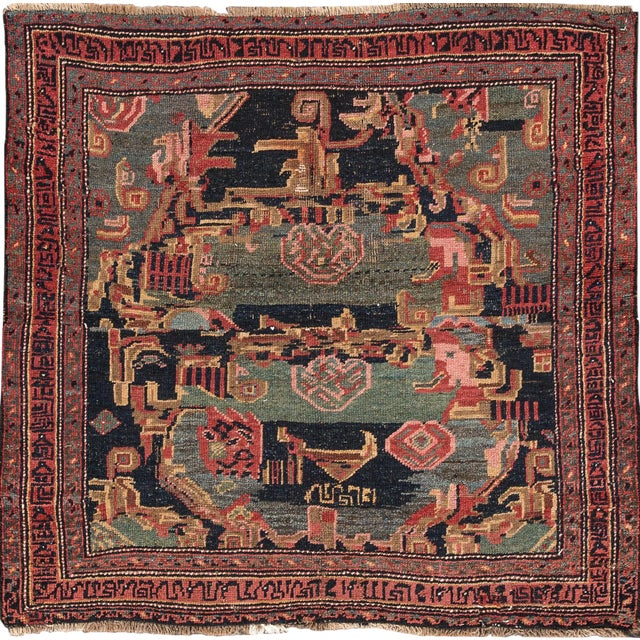 "Apadana - Antique Persian Bidjar Rug, 4' x 4'3"" For Sale"