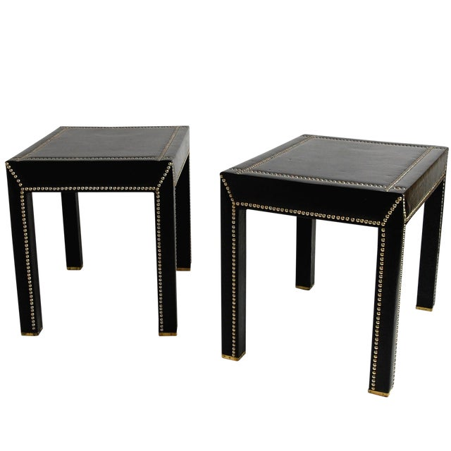 Mid Century Italian Leather Studded End Tables - a Pair - Image 1 of 10