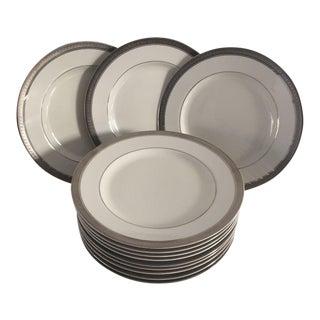 Mikasa Fine China Platinum Rim Salad Plates - Set of 12 For Sale