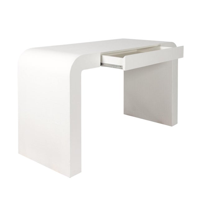 1970s Karl Springer Style White Grasscloth Waterfall Desk - Image 3 of 7