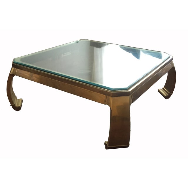 Vintage Brass Smoked Glass Top Coffee Table - Image 1 of 4
