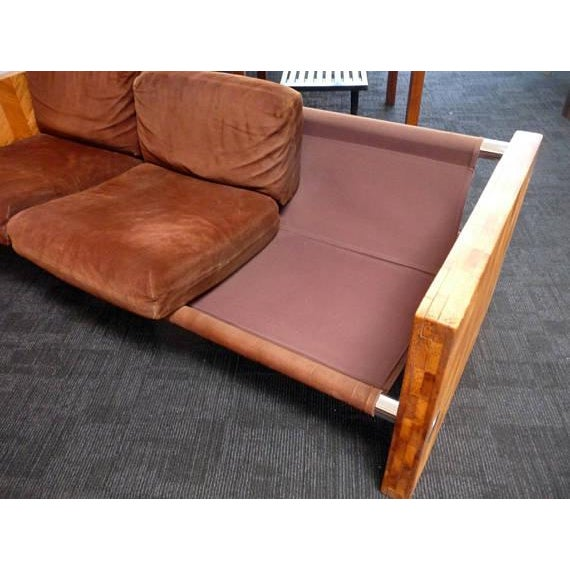1970s Brown Suede & Wood Sofa For Sale - Image 4 of 6
