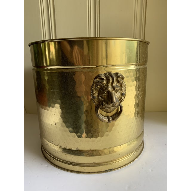 Gold Metal Lion Head Vessels, Set of Two For Sale - Image 12 of 13