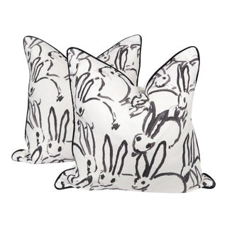 Black and Ivory Linen Bunny Pillows, a Pair For Sale