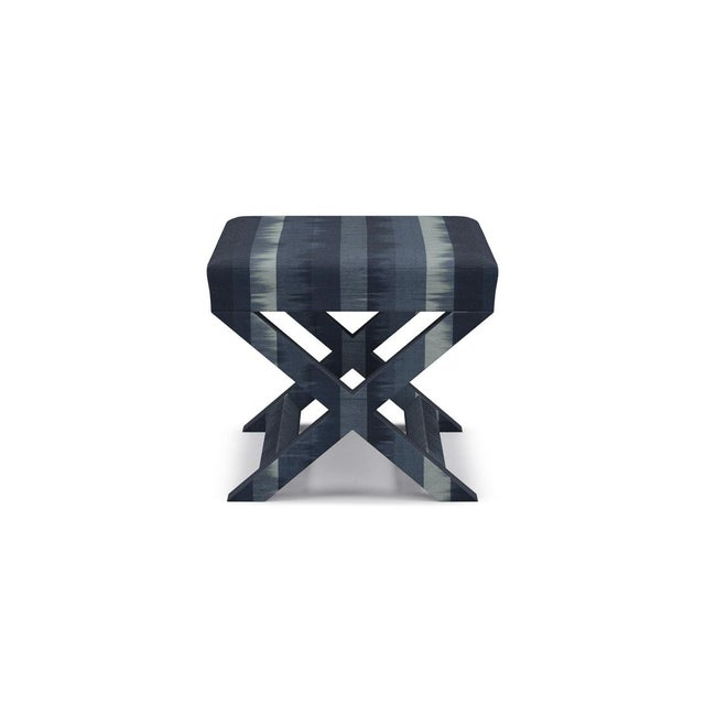 Not Yet Made - Made To Order X Bench in Indigo Ikat Stripe For Sale - Image 5 of 5