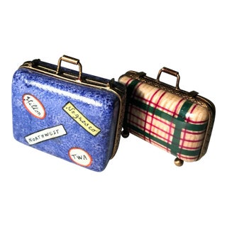 1980s Peint Main Limoges Hand-Painted Suitcase Boxes - A Pair For Sale