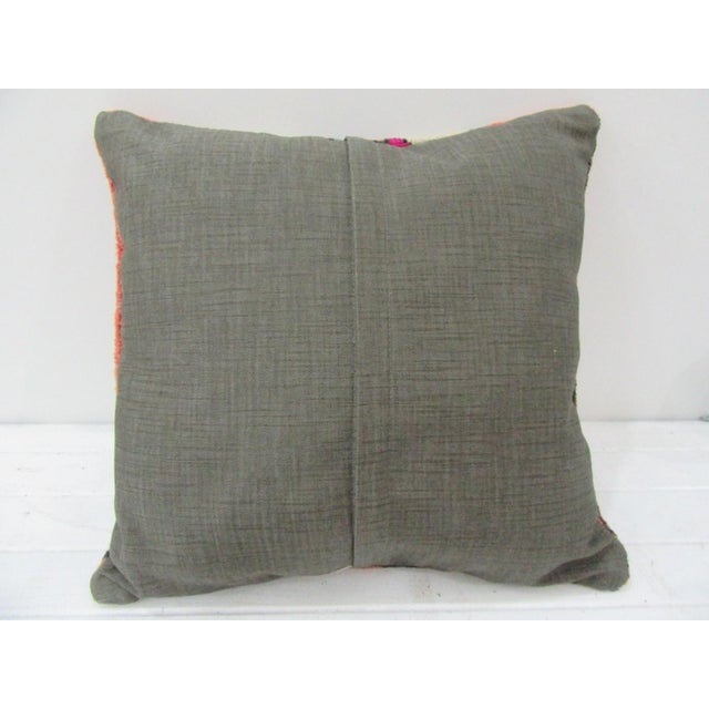 Contemporary Vintage Handmade Decorative White and Pink Turkish Pillow Cover For Sale - Image 3 of 4