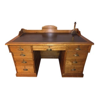 19th Century Victorian Cottage Maple Executive Desk For Sale