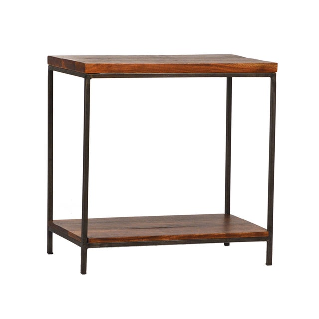 Reclaimed wood iron side table chairish for Buy reclaimed wood los angeles