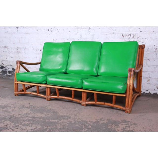 Heywood Wakefield Hollwood Regency Mid-Century Modern Rattan Sofa For Sale - Image 11 of 11