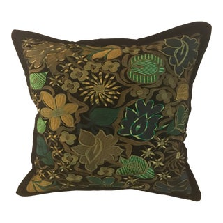Ecuadorian Green and Black Embroidery Decorative Pillow For Sale