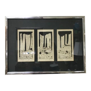1960s Vintage Mid-Century Modern Abstract Trio Block Print Signed Voigt