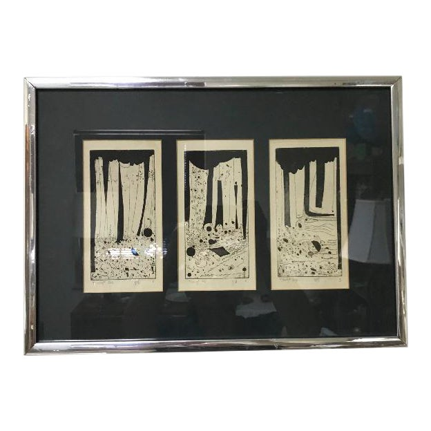1960s Vintage Mid-Century Modern Abstract Trio Block Print Signed Voigt For Sale