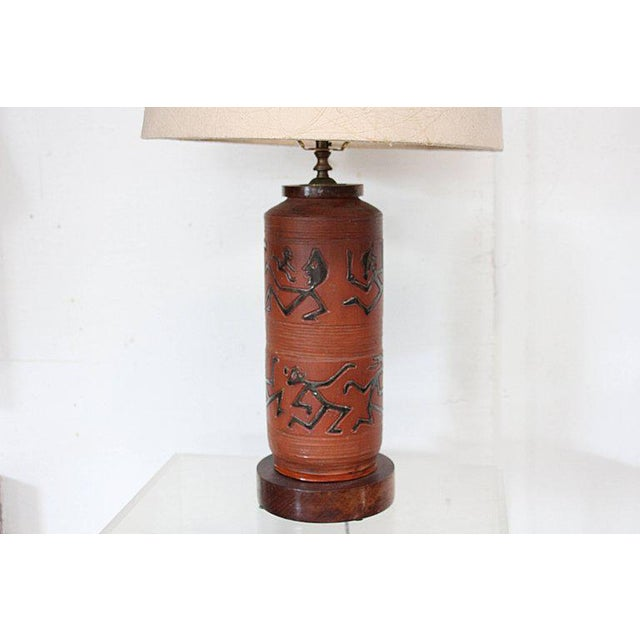 Rust Red Ceramic Table Lamp with Primitive Motif - Image 2 of 9