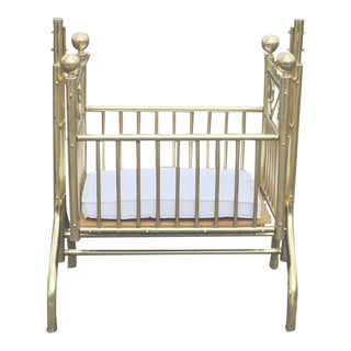 Vintage Victorian Style Brass Hanging Baby Infant Cradle Rocking Crib Bassinet For Sale