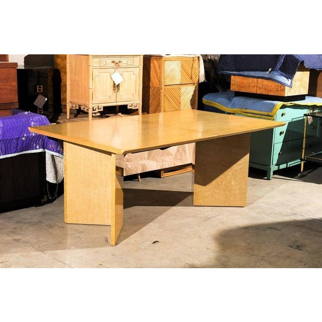 Contemporary Gorgeous Knife Edge Extension Dining or Conference Table in Bird's-Eye Maple For Sale - Image 3 of 11