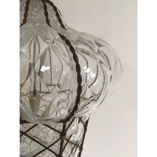 Mid-Century Modern Vintage Clear Murano Baloton Style Glass Single Light Pendant For Sale - Image 3 of 10