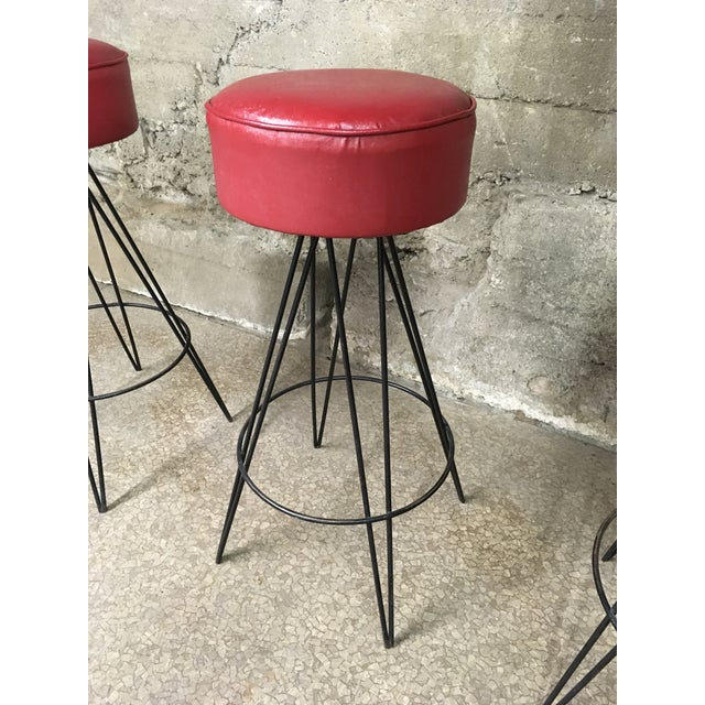 1950s Mid Century Iron Bar Stools - Set of 3 For Sale - Image 5 of 10