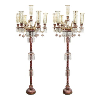 Baccarat Style Ruby & Gold Crystal Torchiere Lamps - a Pair For Sale