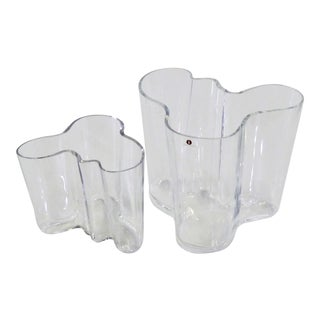Alvar Aalto Savoy Glass Vase by Iittala, Finland 1970s - Set of 2 For Sale