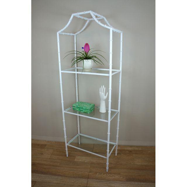 Hollywood Regency White Faux Bamboo Etagere Shelf For Sale - Image 3 of 8