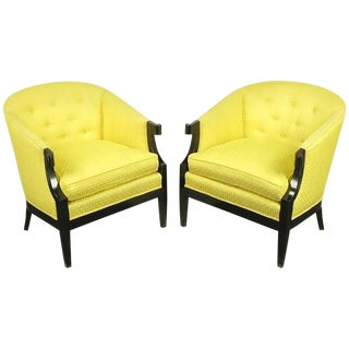 Pair Baker Club Chairs in Embroidered Saffron Silk For Sale