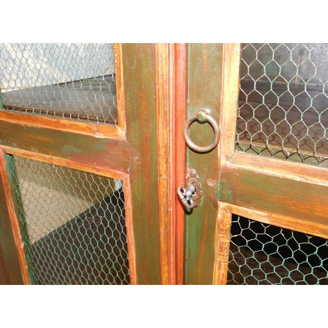 Very Nice Country Style Double Chicken Wire Door Primitive & Rustic Painted Armoire 1990s For Sale - Image 9 of 11