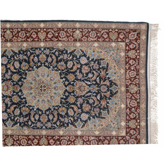 Islamic Pasargad Persian Isfahan Korker Wool & Silk Highlighted Rug - 3′8″ × 5′5″ For Sale - Image 3 of 5