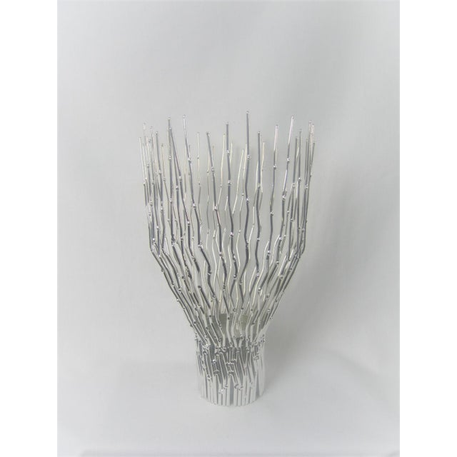 Abstract Arteriors Home Silver Tree Twig Bundle Pillar Candle Holder For Sale - Image 3 of 3
