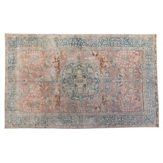 """Vintage Distressed Tabriz Carpet - 5'5"""" X 8'8"""" For Sale"""