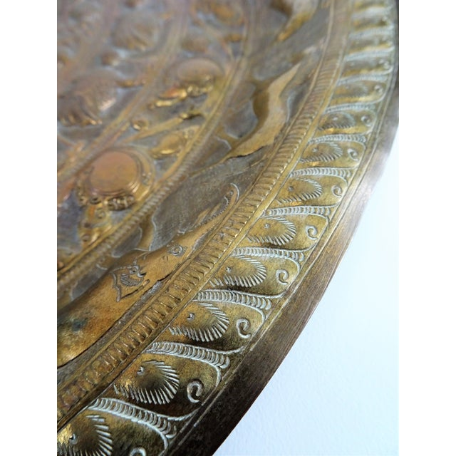 Gold Vintage Tribal Boho Brass Decorative Tray For Sale - Image 8 of 13