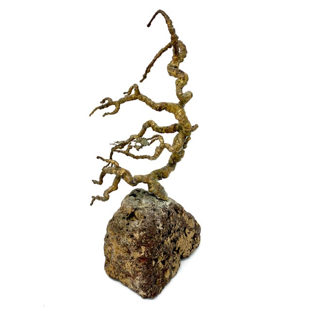 Vintage Mid-Century Brass and Stone Tree Sculpture For Sale - Image 4 of 13