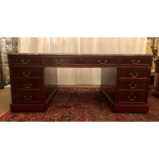 Antique English Mahogany Partner's Desk.