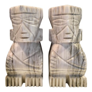 Tribal Grey Marble Bookends - a Pair For Sale