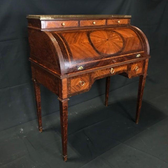 Brown Antique 19th Century Louis XVI Cylinder Bureau Rolltop Desk For Sale - Image 8 of 8