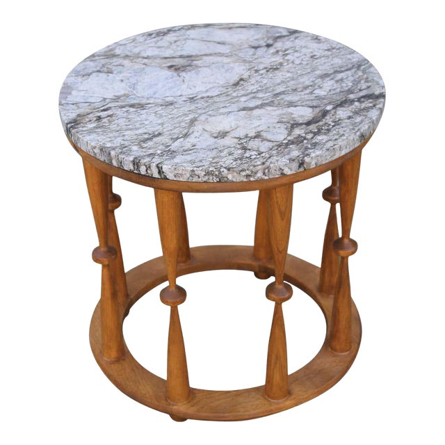 1960s Midcentury Spindle Table With Marble Top For Sale