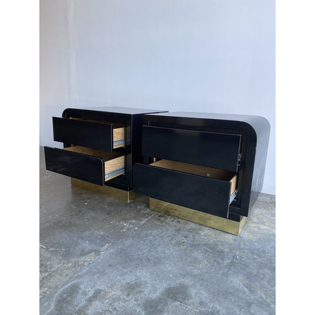 Metal 1980s Black Laqcuer and Brass Nighstands-a Pair For Sale - Image 7 of 12