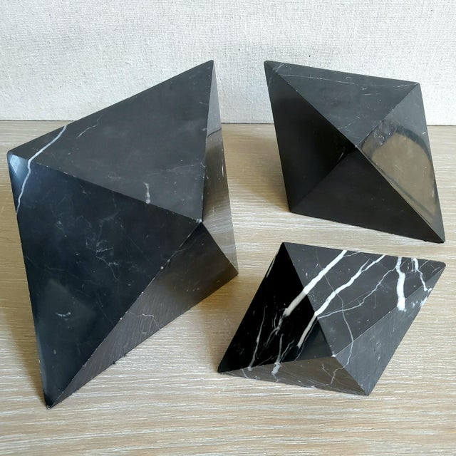 Geometric Octahedron Marble Sculptures - Set of 3 For Sale - Image 12 of 12