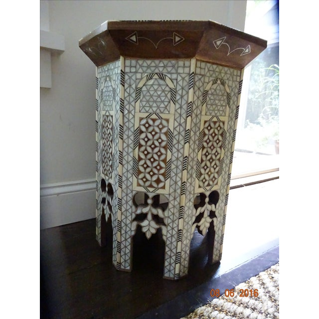 Syrian or Moroccan Mother of Pearl Inlay Side Table - Image 6 of 9