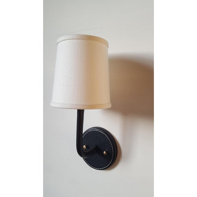 Modern Paul Marra Top-Stitched Leather Wrapped Sconce in Black For Sale - Image 3 of 12